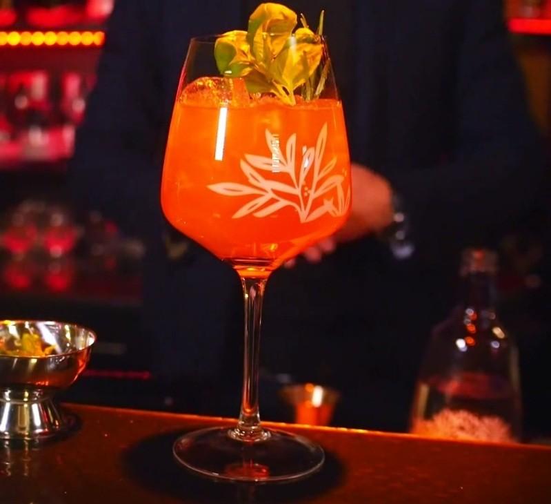 Ein frisch gemixter Red Tonic mit Gin Mare