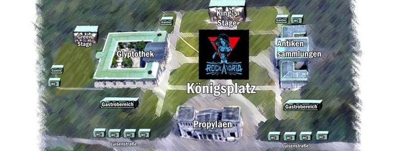 Das Rockavaria soll 2018 auf dem Königsplatz in München stattfinden - erster Lageplan