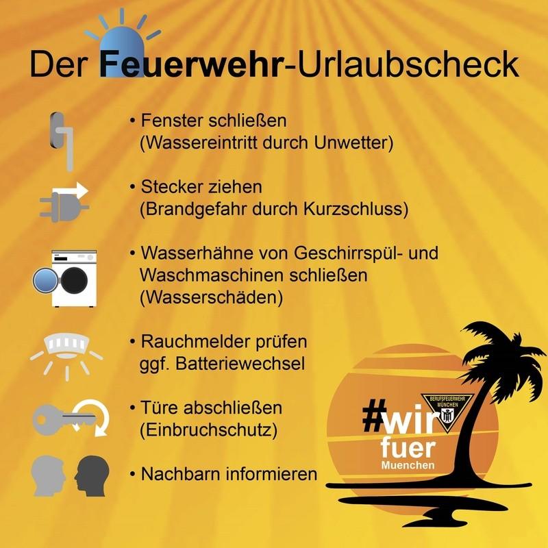 Die Münchner Feuerwehr hat eine Checkliste für alle Urlauber erstellt., © Berufsfeuerwehr München