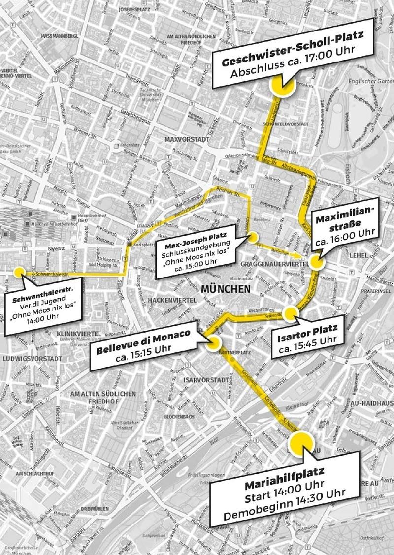 Die Route der #ausspekuliert-Demo, © Grafik: #ausspekuliert