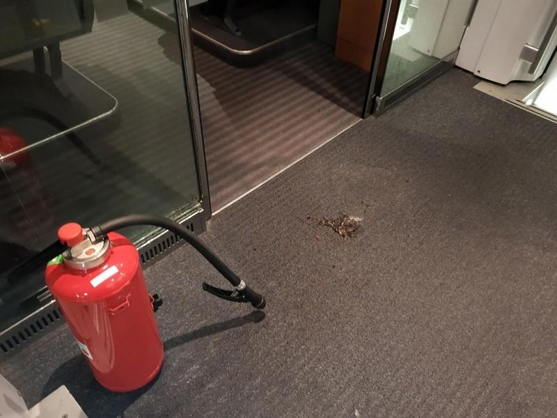 Brandloch im Teppich des ICEs, © Foto der Bundespolizei