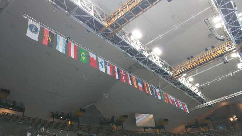 Handball WM in München, © Michael Schreiber - Die Olympiahalle mit den Flaggen aller Teilnehmer