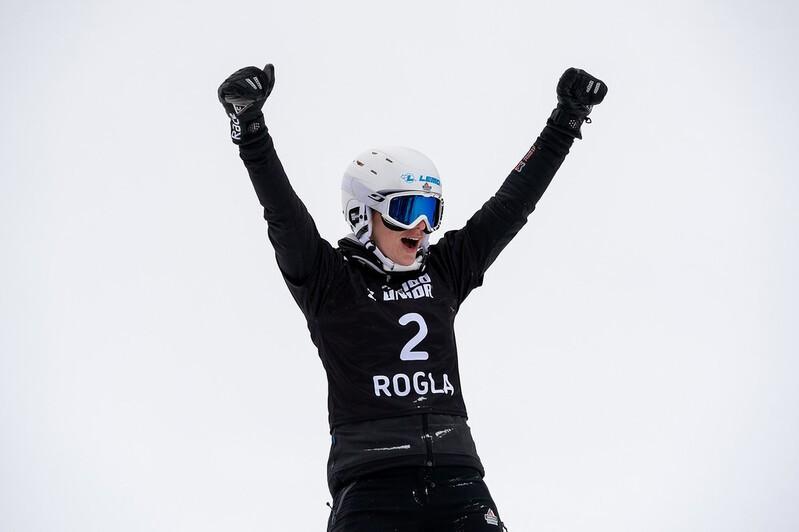 Selina Jörg jubelt über ihren Sieg in Rogla, © © Miha Matavz/FIS