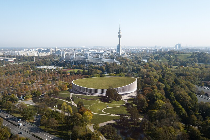 Die neue Arena eingebettet in das Ensemble des Münchner Olympiaparks., © 3XN Architects & MIR / Red Bull Content Pool