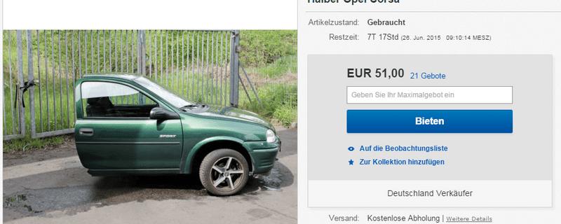 Keine halben Sachen machte ein Berliner nach seiner Scheidung. Er zersägt unter anderem sein Auto., © (Keine) halben Sachen machte ein Berliner nach seiner Scheidung. Er zersägt unter anderem sein Auto und bietet es auf eBay zum Verkauf an. Foto: eBay/der.Juli
