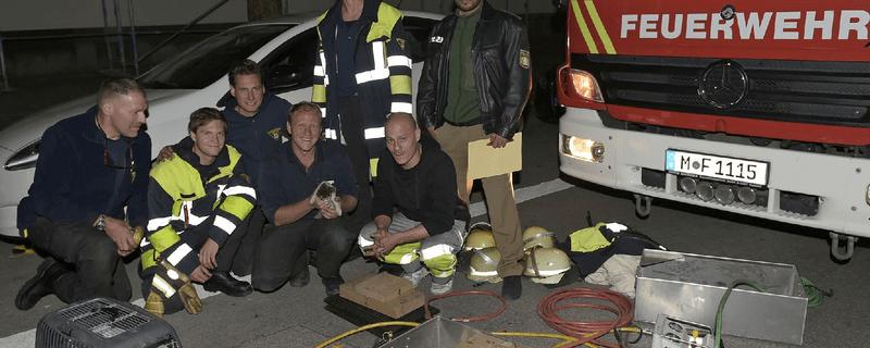 Feuerwehrmänner halten das Katzenbaby in die Kamera, © Foto: Berufsfeuerwehr München