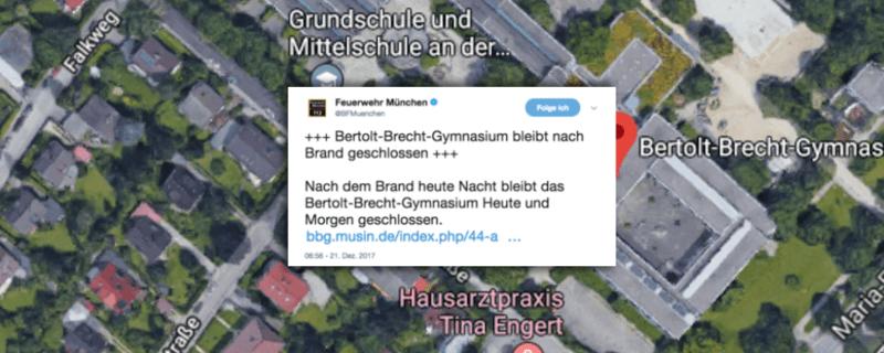 Bertold Brecht Gymnasium Schulausfall wegen Feuer
