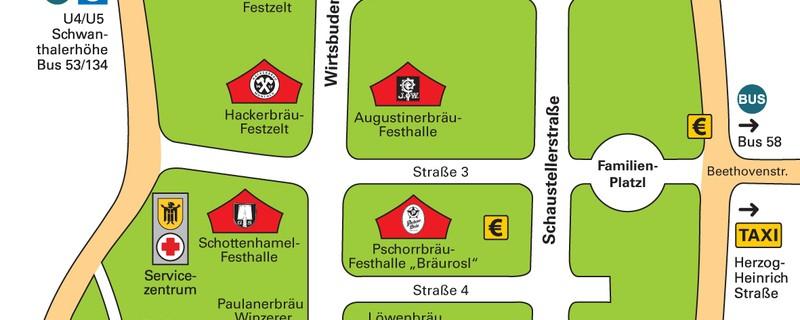 Landeshauptstadt München, Referat für Arbeit und Wirtschaft: Lageplan Oktoberfest München 2014, © Landeshauptstadt München, Referat für Arbeit und Wirtschaft: Lageplan Oktoberfest München 2014