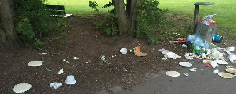 Grillen: Immer wieder quillen die Mülleimer über. , © Foto: Bine Nicole Pernsteiner