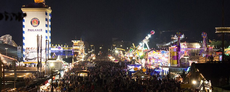Panorama Oktoberfest Wiesn bei Nacht Oktoberfest