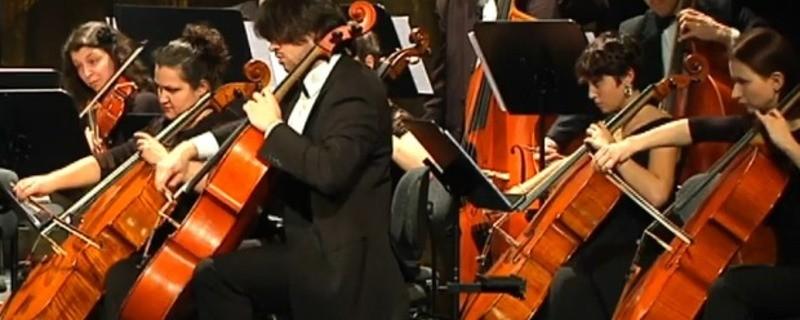 Musiker spielen im Orchester