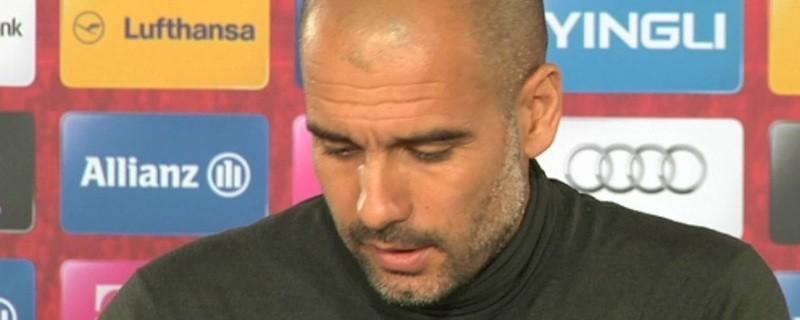 Pep Guardiola bei einer Pressekonferenz des FC Bayern, © Bekommt Verstärkung aus Turin: Pep Guardiola Foto: Archiv