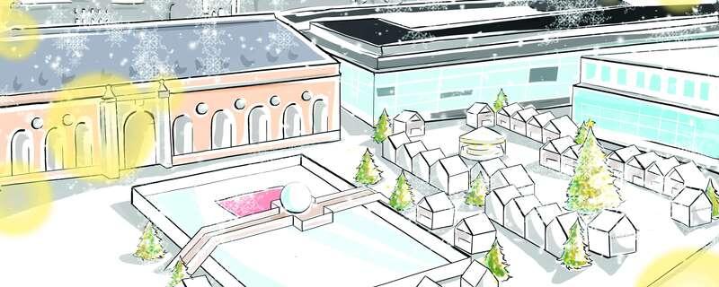 Planung des neuen Weihnachtsmarkts in München Luxus, © Die Planung der weißen Stadt - Foto: Schachzug/Condé Nast