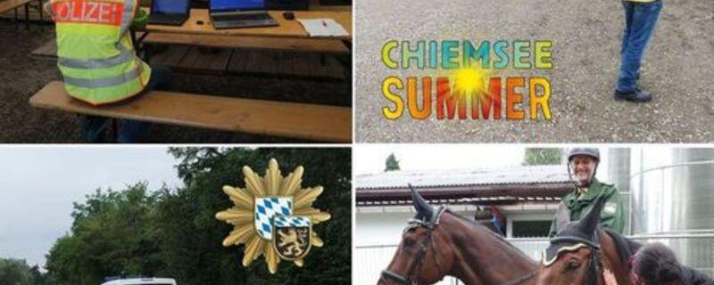 Die Polizei mit Pferden und Einsatzfahrzeugen auf dem Chiemsee Summer  Festival unterwegs, © Foto: Polizeipräsidium Oberbayern Süd