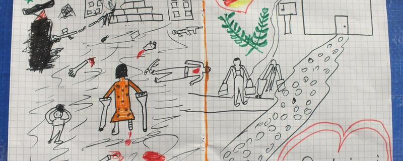 syrisches Flüchtlingskind, Syrien, Krieg, Deutschland, Bundespolizei, Bild, © Ein syrisches Flüchtlingskind hat der Bundespolizei ein schockierendes Bild gemalt. Foto: Bundespolizei