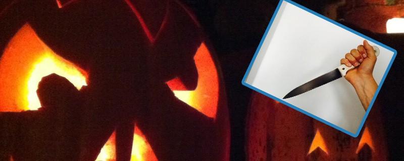 Halloween-Scherz mit Messer und Kunstblut
