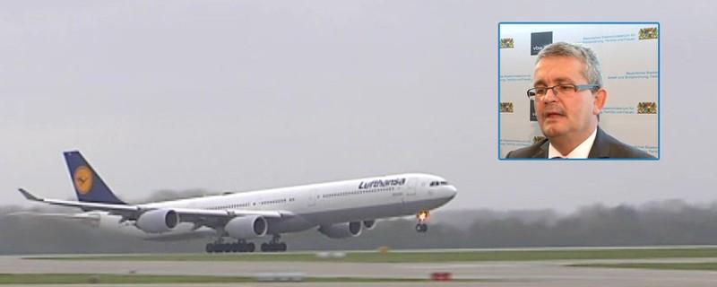 """Flughafen München und Bertram Brossardt, © Bertram Brossardt: """"Jetzt entscheidet sich, ob Bayern infrastrukturfähig bleibt."""""""