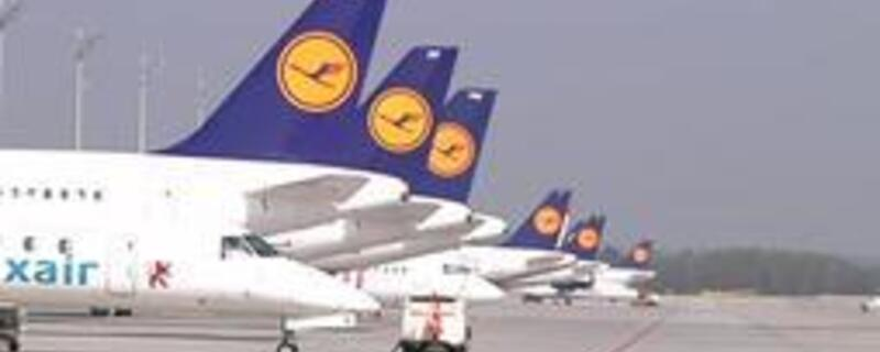 Sechs Lufthansa Maschinen stehen auf dem Rollfeld