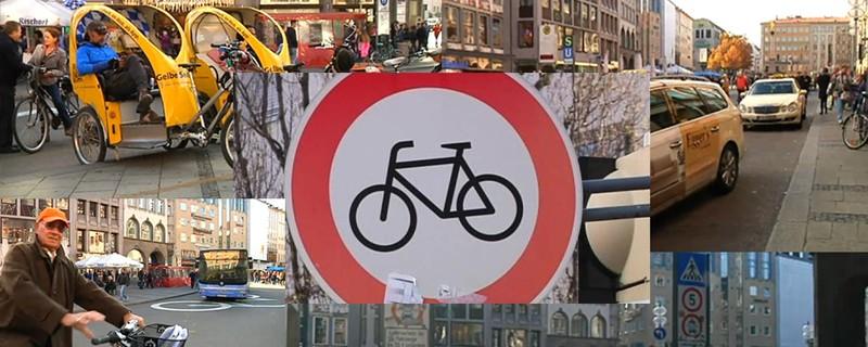 Am Marienplatz ist das Radfahren künftig verboten; Collage