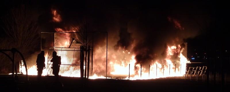 Der brennende Spielplatz am Harthaus B, © Der brennende Spielplatz - Foto: Polizei