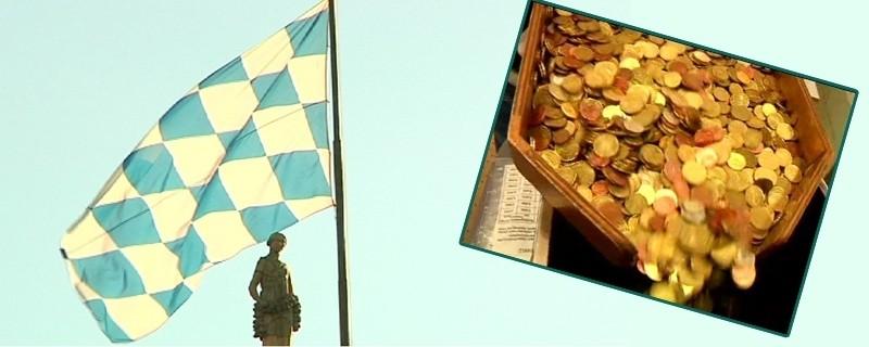 Bayernfahne und viele Münzen auf einem Bild, © Bayern größtes Geberland beim Länderfinanzausgleich