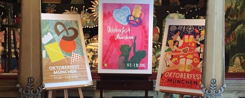 platz eins, zwei und drei der wiesnplakate 2016 nebeneinander , © Platz eins, zwei und drei der Wiesnplakate 2016