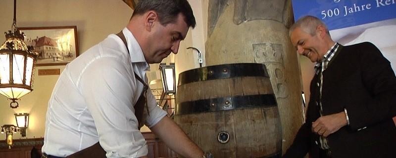 © Markus Söder zapft das Jubiläumsbier von Hofbräu zum 500-jährigen Jubiläum des bayerischen Reinheitsgebotes