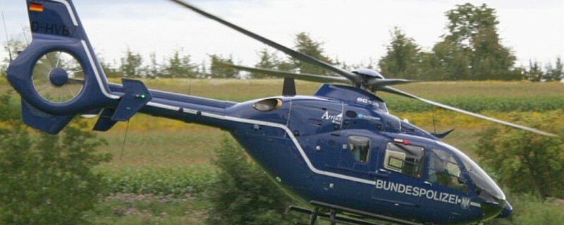 Hubschrauber der Polizei im Einsatz, © Foto: Bundespolizei