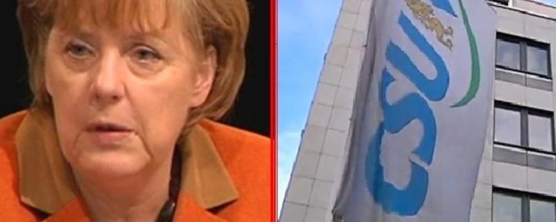 Merkel und CSU-Flagge nebeneinander
