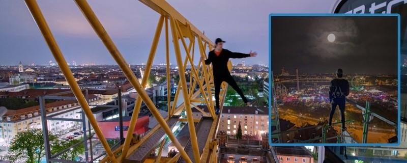 Rooftopper Icarus über den Dächern Münchens auf einem Baukran (Freeclimbing), © Foto:  Icarus Senpai
