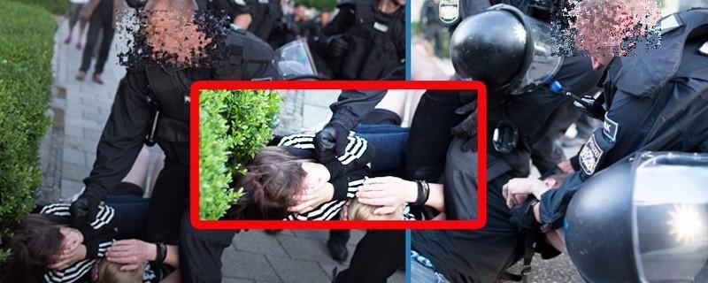 Polizeigewalt: Polizist schlägt Schülerin in München, © Screenshots der Aufnahmen von:  24mmjournalism.com