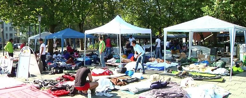 Das Camp der protestierenden Flüchtlinge am Sendlinger Tor in München