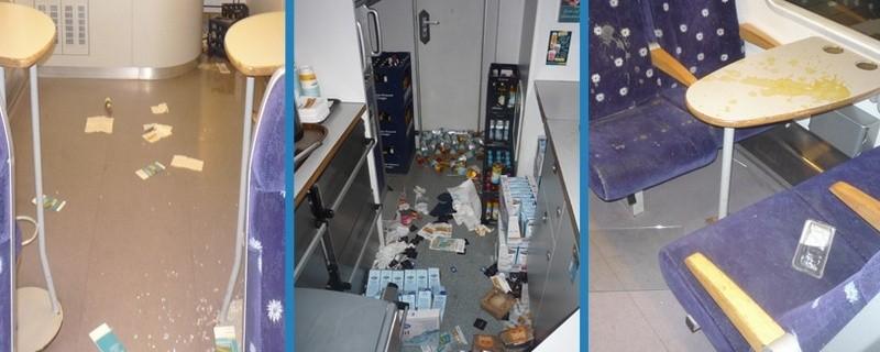Ein Randalierer hat in einem Boardbistro sein Unwesen getrieben., © Fotos: Bundespolizei