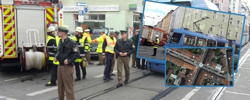 Auto prallt gegen Tram und erfasst Fußgängerin - München Barer Straße