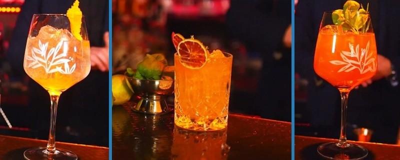 Cocktail Variationen auf Gin-Basis mit einem Triple Orange, Red Tonic und Red Sea