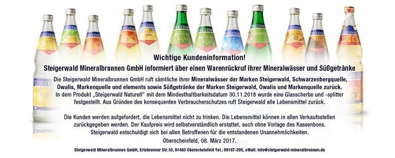 Steigerwald Mineralbrunnen ruft aufgrund eines Glasscherbenfundes all seine Produkte zurück., © Foto: http://www.steigerwald-mineralbrunnen.de/