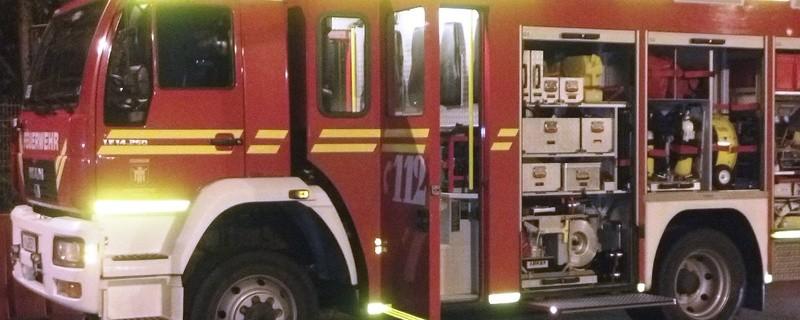 Ein Feuerwehrauto im Einsatz, © Symbolfoto