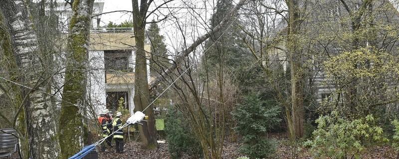 Baum nach Sturmtief Eckhart von Feuerwehr gesichert, © Foto: Berufsfeuerwehr München