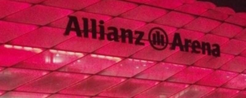 Die Allianzarena mit roter Beleuchtung, © Symbolfoto