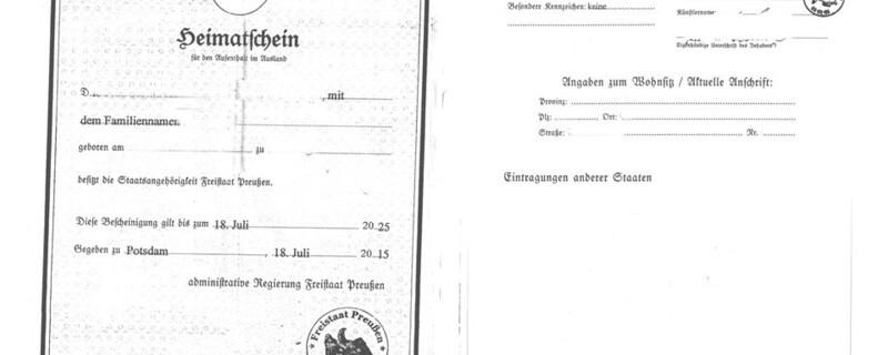 Gefälschter Preußischer Heimatschein, © Fantasiedokumente eigenen sich nicht zum Reisen und beenden diese noch bevor sie angefangen hat
