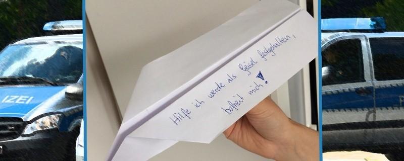 © Ein Hilferuf auf einem Papierflieger sorgte für einen Polizeieinsatz