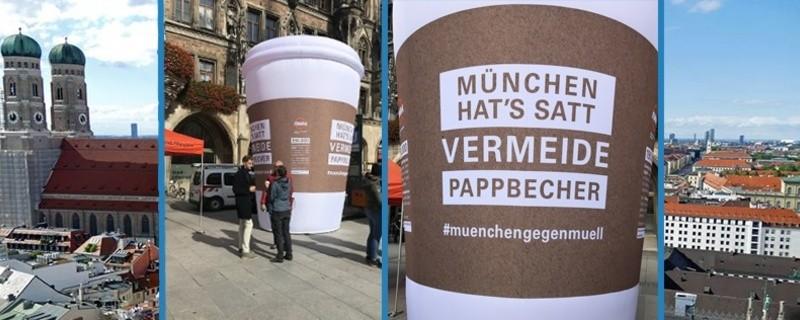 riesiger Kaffebecher am Marienplatz zum Start der AWM Kampagne