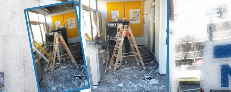 Spuren der Verwüstung: So sieht die Bank nach der Sprengung des Geldautomaten aus