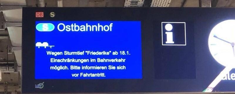 Zugausfälle bei der Deutschen Bahn wegen Sturmtief Frederike