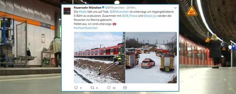 © Die Münchner Berufsfeuerwehr twittert von der Evakuierung der liegengebliebenen S-Bahn
