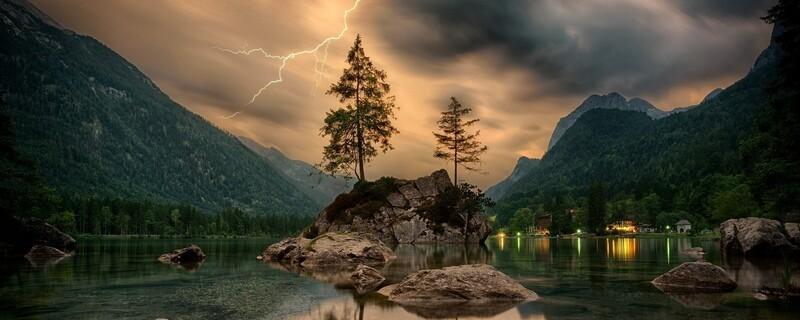 Blitz, Unwetter, Sturm, Alpen, Berge, Wandern