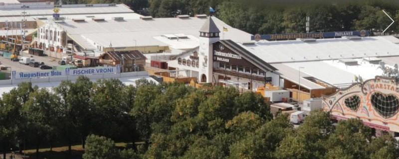 Wiesn-Webcam-Ausblick auf die Theresienwiese und den Oktoberfest-Aufbau - aktuell, © Screenshot der Oktoberfest-Webcam von  panTerra