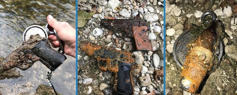 Auf Der Jagd Nach Verlorenen Schätzen Magnet Angler Finden Waffen