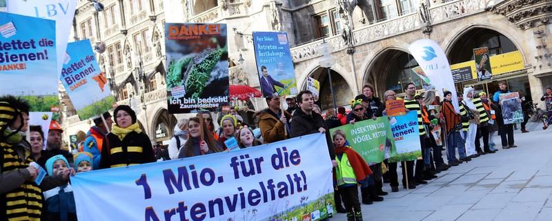 Schlange vor dem Rathaus in München: Etliche Menschen tragen sich für das Volksbegehren Artenvielfalt ein. , © ©Katharina Heuberger
